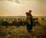 Jean-François Millet - Shepherdess with her Flock, 1863