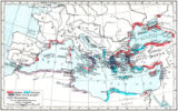 Anonymous - Map of Greek and Phoenician settlements in the Mediterranean basin c.550 B.C. From Historical Atlas, published 1923.