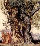 I am old Philemon! murmured the oak, illustration from 'A Wonder Book for Girls and Boys' by Nathaniel Hawthorne, 1928 von Arthur Rackham