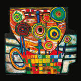 The Blob grows in  the Flower Pot von Friedensreich Hundertwasser